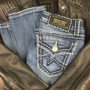 MISS ME IRENE STRAIGHT DISTRESSED JEANS size 26